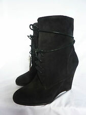 BNWT NEW ZARA BLACK REAL SUEDE LEATHER WEDGE HEEL ANKLE BOOTS SIZE 40 UK 7