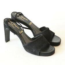 Robert Clergerie Black Suede Heels Slingback Sandals Open Toe Platform 6 France