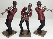 3Pc Set Jazz Band Collection Saxophone Trumpet Clarinet Player Statue Sculpture