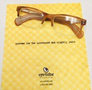 """eyebobs 1.50 """"Bare Bottom"""" Reading Glasses In Honey With Case And Cloth"""