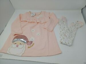 Mud Pie Kids Glitter All The Way Christmas Santa Dress With tights. Size 3T new