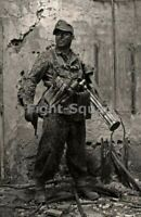 WW2 Picture Photo German Soldier Ready to Fight 3324