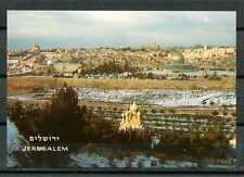 Israel B03 Postcard mint 60-70 yr Jerusalem covered with Snow Seen from Mt Olive