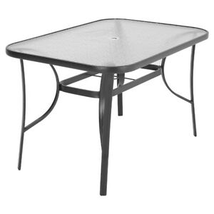 Outdoor Garden Glass Top Dining Tea Table Bistro Tables with Parasol Hole 150cm