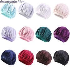 Women Wide Band Silk Turban Bonnet Satin Sleep Hat Headwrap Beanie Hair Loss Cap