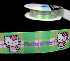 "5 Yds Hello Kitty Green Plaid Offray Satin Ribbon 7/8""W"