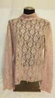 Womens Urban Outfitters Light Pink Floral Lace Sheer Long Sleeve Top Shirt XL
