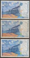 France Banknote - 50 Francs - P 157 1993 1994 1997 - Lot of 3 Different Years