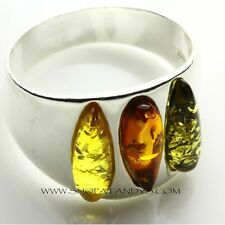 GENUINE BALTIC AMBER 925 STERLING SILVER RING SIZE 7.5
