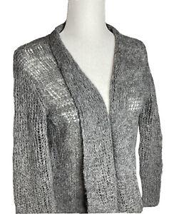 Eileen Fisher Sz Medium Open Gray Alpaca/Wool Loose Knit Lightweight Cardigan