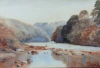 A. P. Bishop  signed Watercolour Painting of Fisherman, FRENSHAM PONDS? SURREY?