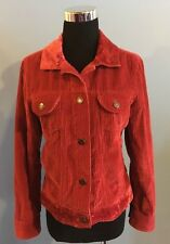 J Jill Corduroy Red Crushed Velvet Button Front Jacket  S  Free Shipping