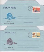 Stamps 1978 Australian Aviators pair Bergen aerogrammes first day issue signed