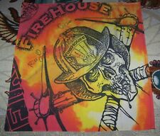 Vintage Firehouse Tour Bandana Scarf Flag Banner Bill Leverty C.J. Snare Signed