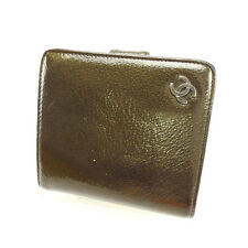 Chanel Wallet Purse Bifold Brown Green Woman Authentic Used Y2364