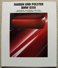 BMW 850i Car LF Colours & Upholstery Brochure Feb 1991 #111080799 2/91VM