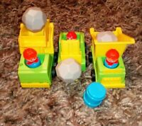 VINTAGE FISHER PRICE CONSTRUCTION VEHICLES FIGURES AND ACCESSORIES RETRO TOYS