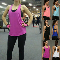 Womens Sport Workout Tank Top Vest T-shirt Fitness Lift Yoga Blouse Gym Clothes