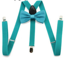 Teal Blue Pre-tied Bow Tie Braces Suspenders Set Matching Formal Quirky Fashion