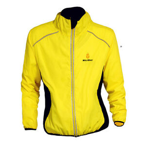 Mens High Visibility Cycling Jackets Wind Coat Bike Bicyle Jersey Windproof Tops