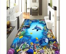 3D Floor Bathroom Wallpaper HD Non slip Waterproof PVC Sea World Dolphin Coral