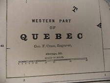 1891 Color Tinted Geo Cram Map Western Part of PQ Quebec Be Great Framed