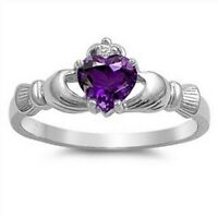 Celtic Claddagh Ring Sterling Silver 925 Amethyst CZ Face Height 9 mm Size 5