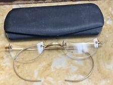 VTG Mid Century 12K Gold Filled Wire Rimless spectacles 👓 Glasses & OG Case