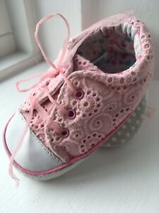 Mothercare Broderie Anglaise Pink Shoes Baby Girl Size 3