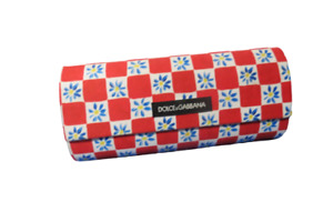 Dolce And Gabbana Magnetic Sunglass Case Red Checkered Flower Hard Case