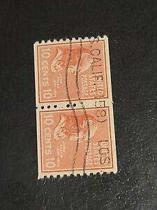 Scott# 815 US Stamp 1938 10c John Tyler Used Pair Prexie - #4153