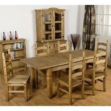 1628d99786c Seconique CORONA Distressed Mexican Pine Extending Dining Set 1 6 Pine  Seats Pine