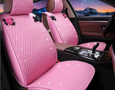 New PU Leather women love Car Seat Cover Seat Cushion Front/Rear Full 1 Set pink