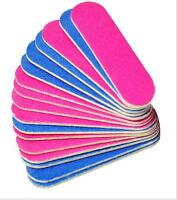 Mini Nail File Professional Double Sided 100/240 Grit Crescent Curved Beauty UK