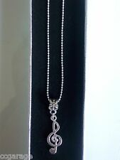 NEW MUSIC ,NOTE PENDENT   22  INCH  BALL SILVER NECKLACE AGE 7, 8,9,10, GIFT BOX