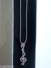 NEW MUSIC ,NOTE PENDENT  22 INCH  SILVER NECKLACE   GIFT BOX