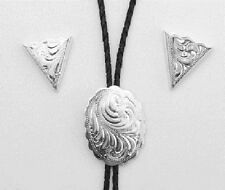 New! Western NEW Bolo Tie & Collar Tip Boxed Set - German Silver - Engraved