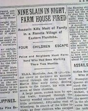 "SITAR FAMILY MURDERS Elma Manitoba Farmhand Axe Killer ""Devil"" 1932 Newspaper"