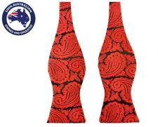 Men's Bowtie Red Black Paisley Formal Wedding Groom Tuxedo Self Tied Bow Tie