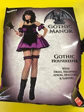 Halloween Sexy Gothic Housemaid Adult Fancy Dress Costume  (Size 12- 14)