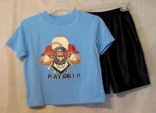 Boys Bugle Boys Baseball Design T-Shirts & Navy Short Set  Size 5/6 New