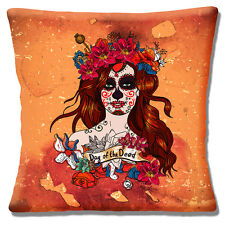 "Day of the Dead Girl 16""x16"" 40cm Cushion Cover Mexican Sugar Skull Orange Shade"