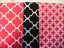 "Lot of 3 GEOMETRICS-Red, black 100% cotton fabric UNIK FAT QUARTERS-18"" x 21-22"""