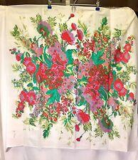"Jim Thompson White Floral Art Multicolor Square Scarf Width 33"" 100% Cotton"