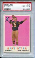 1959 Topps Football #23 Bart Starr Card Graded PSA Nm MINT 8 Green Bay Packers