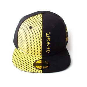 Pokemon Block Pikachu Snapback Baseball Cap Unisex Black/Yellow