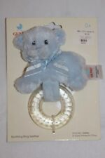 GUND Blue BEAR SOOTHING RING TEETHER Plush Cuddly toy Baby Shower Boy Gift New