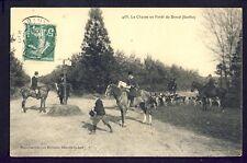 Carte Postale Ancienne CHASSE à Courre en FORÊT de BERCÉ (Sarthe) Hunting Jagd
