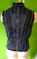 Denim grey REAL Rabbit fur lined vest embroidered distressed steampunk jean Mod
