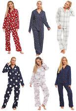 Ladies Pyjamas Brushed 100% Cotton Flannel Womens Buttoned Collar Novelty Wincy